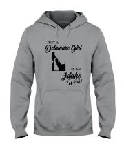 JUST A DELAWARE GIRL IN AN IDAHO WORLD Hooded Sweatshirt thumbnail