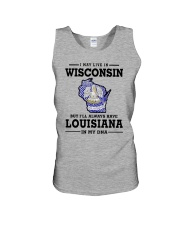 LIVE IN WISCONSIN BUT LOUISIANA IN MY DNA Unisex Tank thumbnail