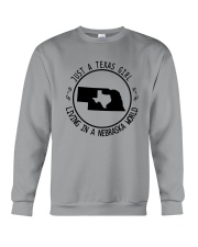 TEXAS GIRL LIVING IN NEBRASKA WORLD Crewneck Sweatshirt thumbnail