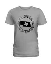 TEXAS GIRL LIVING IN NEBRASKA WORLD Ladies T-Shirt thumbnail