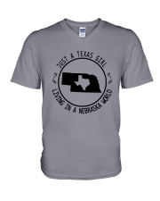 TEXAS GIRL LIVING IN NEBRASKA WORLD V-Neck T-Shirt thumbnail