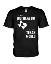 JUST A LOUISIANA GUY IN A TEXAS WORLD V-Neck T-Shirt thumbnail
