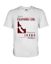 JUST A CALIFORNIA GIRL IN AN IDAHO WORLD V-Neck T-Shirt tile