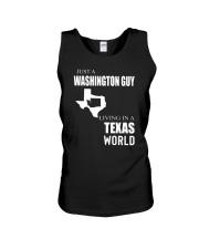 JUST A WASHINGTON GUY IN A TEXAS WORLD Unisex Tank thumbnail