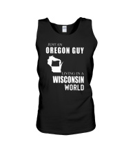 JUST AN OREGON GUY IN A WISCONSIN WORLD Unisex Tank thumbnail
