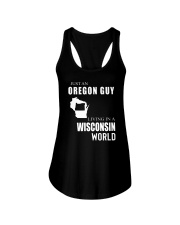 JUST AN OREGON GUY IN A WISCONSIN WORLD Ladies Flowy Tank thumbnail
