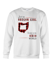 JUST AN OREGON GIRL IN AN OHIO WORLD Crewneck Sweatshirt thumbnail