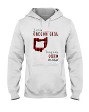 JUST AN OREGON GIRL IN AN OHIO WORLD Hooded Sweatshirt front