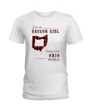JUST AN OREGON GIRL IN AN OHIO WORLD Ladies T-Shirt thumbnail