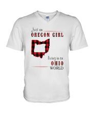 JUST AN OREGON GIRL IN AN OHIO WORLD V-Neck T-Shirt thumbnail