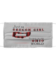 JUST AN OREGON GIRL IN AN OHIO WORLD Cloth face mask thumbnail