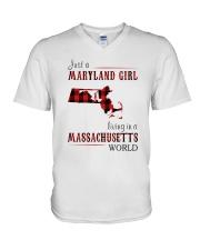 JUST A MARYLAND GIRL IN A MASSACHUSETTS WORLD V-Neck T-Shirt thumbnail