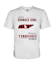 JUST A GEORGIA GIRL IN A TENNESSEE WORLD V-Neck T-Shirt thumbnail