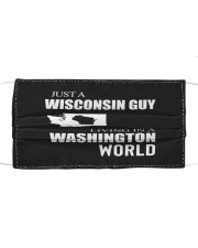 JUST A WISCONSIN GUY IN A WASHINGTON WORLD Cloth face mask thumbnail