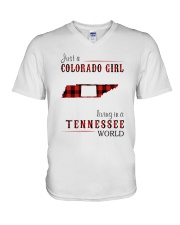 JUST A COLORADO GIRL IN A TENNESSEE WORLD V-Neck T-Shirt thumbnail