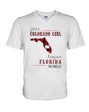 JUST A COLORADO GIRL IN A FLORIDA WORLD V-Neck T-Shirt thumbnail