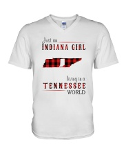 JUST AN INDIANA GIRL IN A TENNESSEE WORLD V-Neck T-Shirt thumbnail