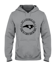 WISCONSIN GIRL LIVING IN NORTH CAROLINA WORLD Hooded Sweatshirt front