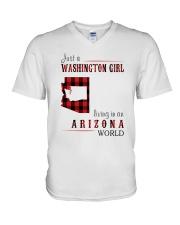 JUST A WASHINGTON GIRL IN AN ARIZONA WORLD V-Neck T-Shirt thumbnail