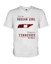 JUST AN OREGON GIRL IN A TENNESSEE WORLD V-Neck T-Shirt thumbnail