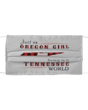 JUST AN OREGON GIRL IN A TENNESSEE WORLD Cloth face mask thumbnail
