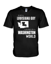 JUST A LOUISIANA GUY IN A WASHINGTON WORLD V-Neck T-Shirt thumbnail
