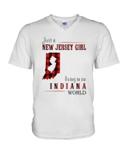 JUST A NEW JERSEY GIRL IN AN INDIANA WORLD V-Neck T-Shirt thumbnail