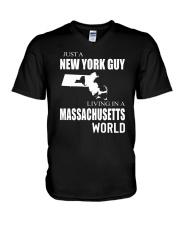 JUST A NEW YORK GUY IN A MASSACHUSETTS WORLD V-Neck T-Shirt thumbnail