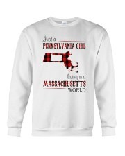 JUST A PENNSYLVANIA GIRL IN A MASSACHUSETTS WORLD Crewneck Sweatshirt thumbnail