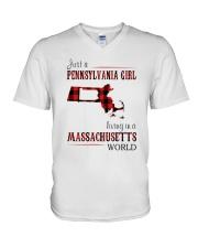 JUST A PENNSYLVANIA GIRL IN A MASSACHUSETTS WORLD V-Neck T-Shirt thumbnail