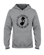 MICHIGAN GIRL LIVING IN NEW JERSEY WORLD Hooded Sweatshirt front