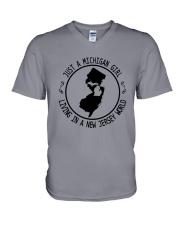 MICHIGAN GIRL LIVING IN NEW JERSEY WORLD V-Neck T-Shirt thumbnail