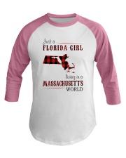 JUST A FLORIDA GIRL IN A MASSACHUSETTS WORLD Baseball Tee thumbnail