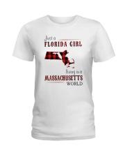 JUST A FLORIDA GIRL IN A MASSACHUSETTS WORLD Ladies T-Shirt thumbnail