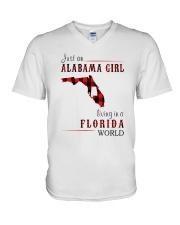 JUST AN ALABAMA GIRL IN A FLORIDA WORLD V-Neck T-Shirt thumbnail
