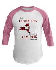 JUST AN OREGON GIRL IN A NEW YORK WORLD Baseball Tee thumbnail