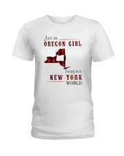 JUST AN OREGON GIRL IN A NEW YORK WORLD Ladies T-Shirt thumbnail