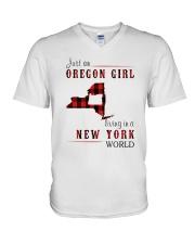 JUST AN OREGON GIRL IN A NEW YORK WORLD V-Neck T-Shirt thumbnail