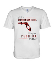 JUST A WISCONSIN GIRL IN A FLORIDA WORLD V-Neck T-Shirt thumbnail