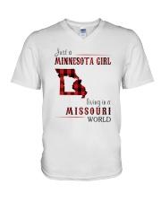 JUST A MINNESOTA GIRL IN A MISSOURI WORLD V-Neck T-Shirt thumbnail