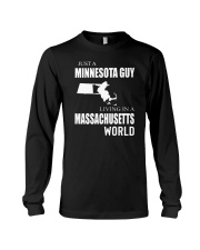 JUST A MINNESOTA GUY IN A MASSACHUSETTS WORLD Long Sleeve Tee tile