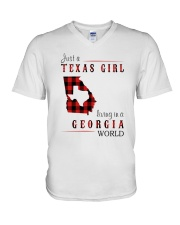 JUST A TEXAS GIRL IN A GEORGIA WORLD V-Neck T-Shirt thumbnail
