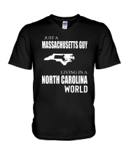 JUST A MASSACHUSETTS GUY IN A NORTH CAROLINA WORLD V-Neck T-Shirt tile