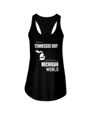 JUST A TENNESSEE GUY IN A MICHIGAN WORLD Ladies Flowy Tank thumbnail