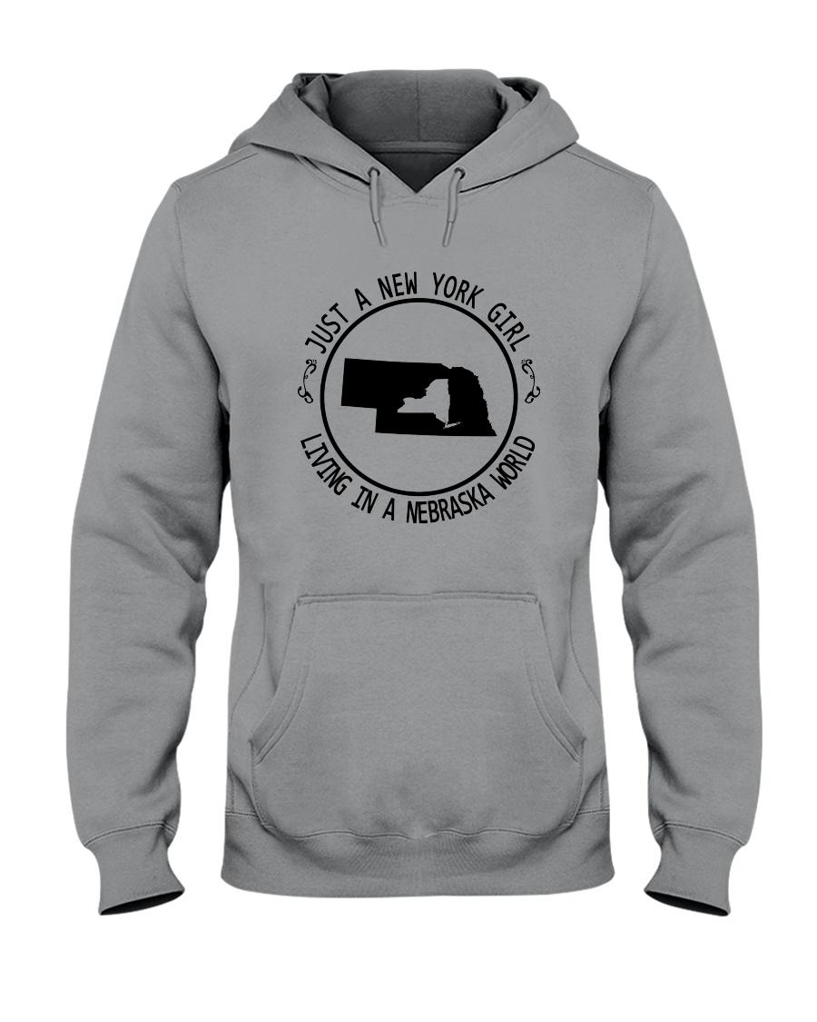 NEW YORK GIRL LIVING IN NEBRASKA WORLD Hooded Sweatshirt