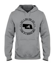 NEW YORK GIRL LIVING IN NEBRASKA WORLD Hooded Sweatshirt front