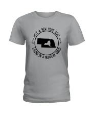 NEW YORK GIRL LIVING IN NEBRASKA WORLD Ladies T-Shirt thumbnail