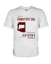 JUST A CONNECTICUT GIRL IN AN ARIZONA WORLD V-Neck T-Shirt thumbnail
