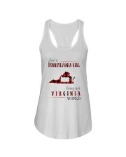 JUST A PENNSYLVANIA GIRL IN A VIRGINIA WORLD Ladies Flowy Tank thumbnail