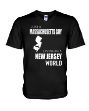 JUST A MASSACHUSETTS GUY IN A NEW JERSEY WORLD V-Neck T-Shirt thumbnail